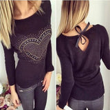 ByChicStyle Casual Black Love Print Cut Out Bow Tie Back Fashion Pullover Sweater
