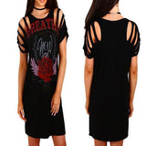 ByChicStyle Casual Black Monogram Print Hollow-out Round Neck Short Sleeve Casual Mini Dress