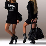 ByChicStyle Casual Black Monogram Round Neck Long Sleeve Mini Dress