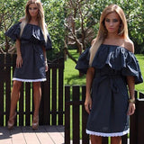 ByChicStyle Casual Black Patchwork Belt Ruffle Lace Boat Neck Mini Dress