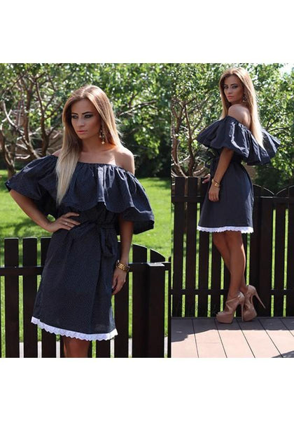 Casual Black Patchwork Belt Ruffle Lace Boat Neck Mini Dress