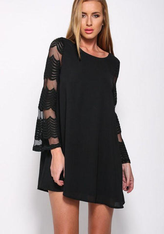 Black Patchwork Grenadine Draped See-through A-line Flare Sleeve Fashion Mini Dress