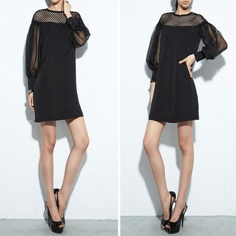 Black Patchwork Hollow-out Grenadine Buttons Lantern Sleeve See-through Slim Mini Dress