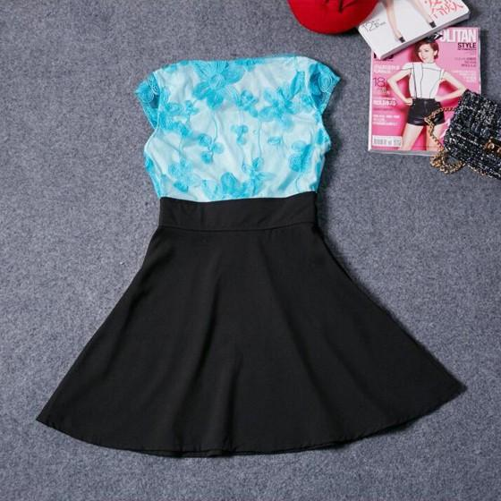 Casual Black Patchwork Hollow-out Lace Bow Zipper Fashion Mini Dress