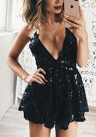 Black Patchwork Backless V-Neck Lace Spaghetti Strap Cocktail Party Sequin Mini Dress