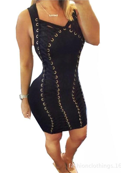 Casual Black Patchwork Hollow-out Lace-up V-neck Slim Homecoming Club Mini Dress