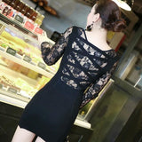 ByChicStyle Casual Black Patchwork Hollow-out Lace V-neck Mini Dress