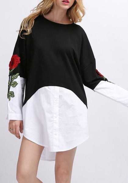Casual Black Patchwork Irregular Buttons Round Neck Long Sleeve Mini Dress