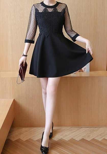 Casual Black Patchwork Lace 3/4 Sleeve Fashion Mini Dress