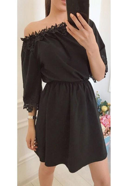 Casual Black Patchwork Lace Boat Neck 3/4 Sleeve Mini Dress