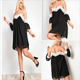 ByChicStyle Casual Black Patchwork Lace Condole Belt Mini Dress