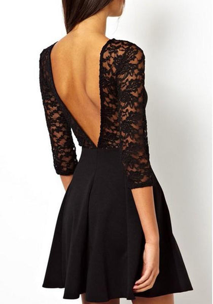 Black Patchwork Stitching Lace Backless See Throughe Wedding Homecoming Party Mini Dress
