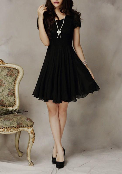 Casual Black Patchwork Lace Draped Round Neck Mini Dress