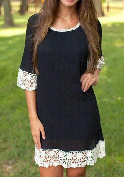 Casual Black Patchwork Lace Elbow Sleeve Fashion Mini Dress