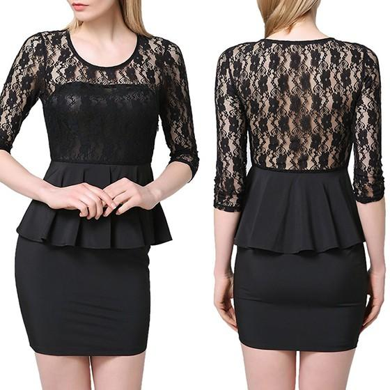 Casual Black Patchwork Lace Hollow-out Backless Round Neck Mini Dress