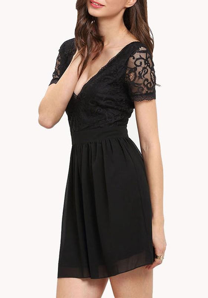 Casual Black Patchwork Pleated Lace Hollow-out Deep V-neck Graduation Party Mini Dress