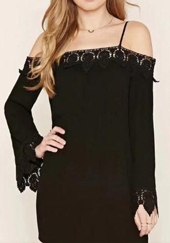 Black Patchwork Lace Hollow-out Spaghetti Strap Off Shoulder Long Sleeve Mini Dress