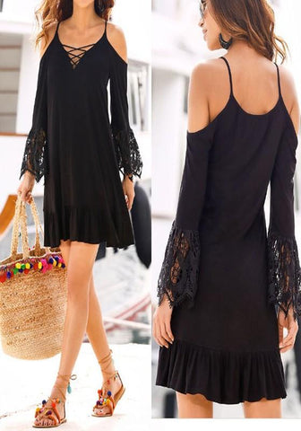 Black Patchwork Lace Hollow-out Spaghetti Straps Off-shoulder Flare Sleeve Bohemian Mini Dress