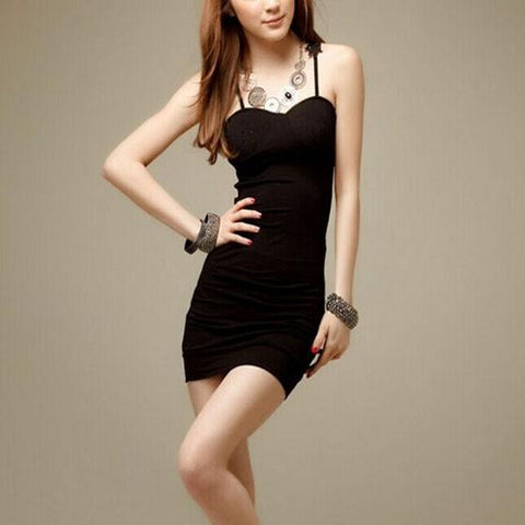 Black Patchwork Lace Hollow-out Spaghetti Straps V-neck Sleeveless Bodycon Club Mini Dress