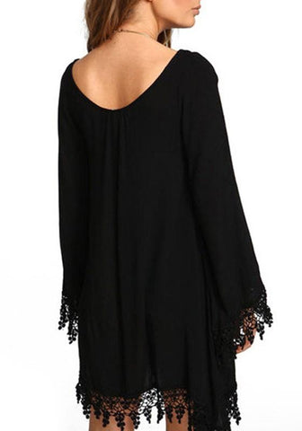 Black Patchwork Lace Irregular Round Neck Long Sleeve Casual Loose Chiffon Mini Dress