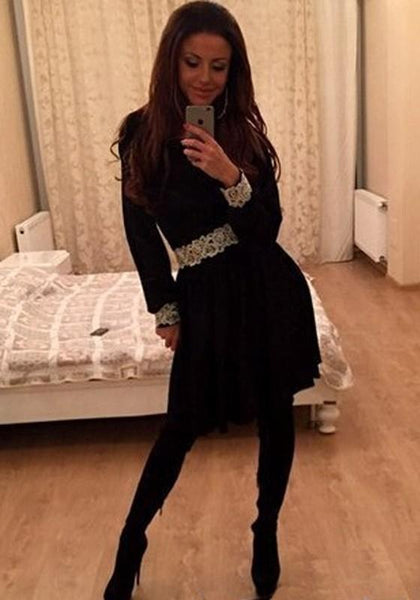 Casual Black Patchwork Lace Lantern Sleeve Fashion Mini Dress
