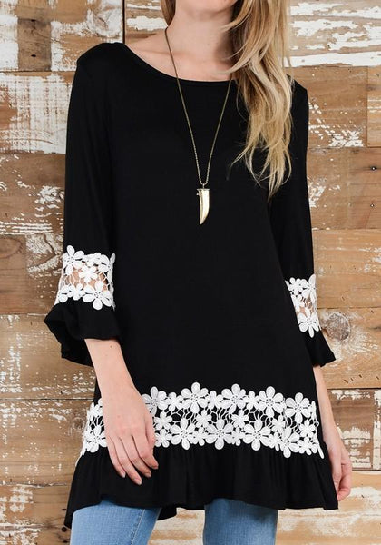 Casual Black Patchwork Lace Round Neck Fashion Polyester Mini Dress