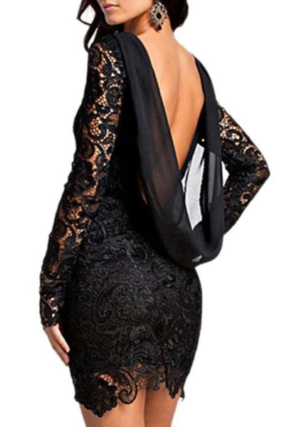 Casual Black Patchwork Lace Backless Sexy Mini Dress