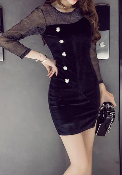 Casual Black Patchwork Lace Single Breasted Slit Mini Dress