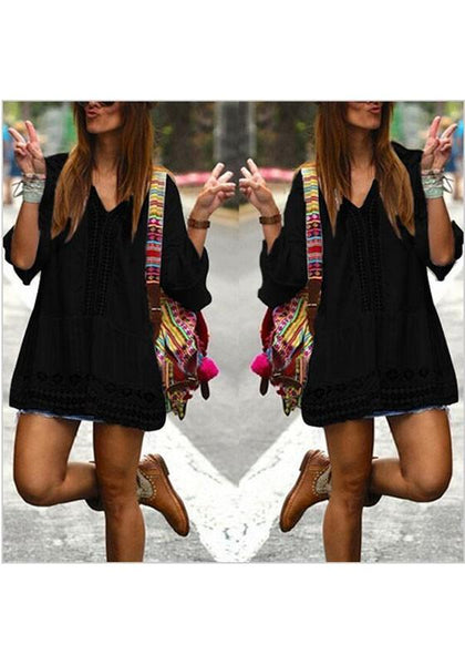 Casual Black Patchwork Lace V-neck 3/4 Sleeve Bohemian Mini Dress