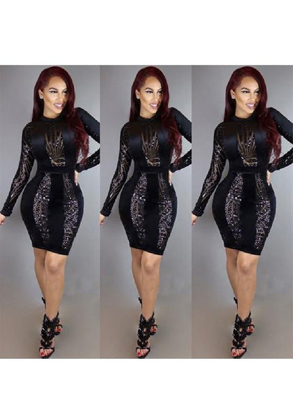 Casual Black Patchwork Sparkly Sequin Bodycon New Year Party Mini Dress