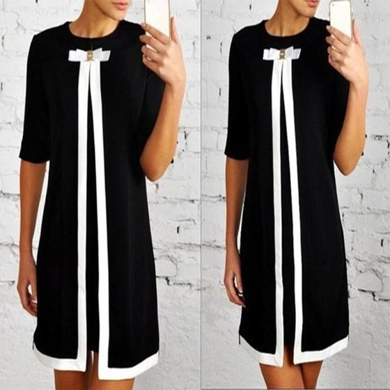 Casual Black Patchwork White Bow Round Neck Long Sleeve Mini Dress