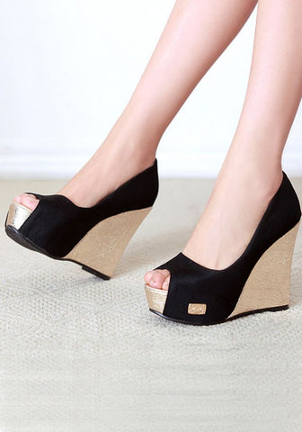Streetstyle  Casual Black Piscine Mouth Fashion Wedges Shoes