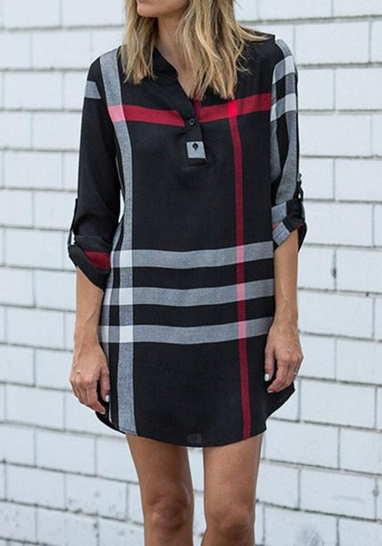 Casual Black Plaid Buttons Pattern 3/4 Sleeve Casual Mini Dress