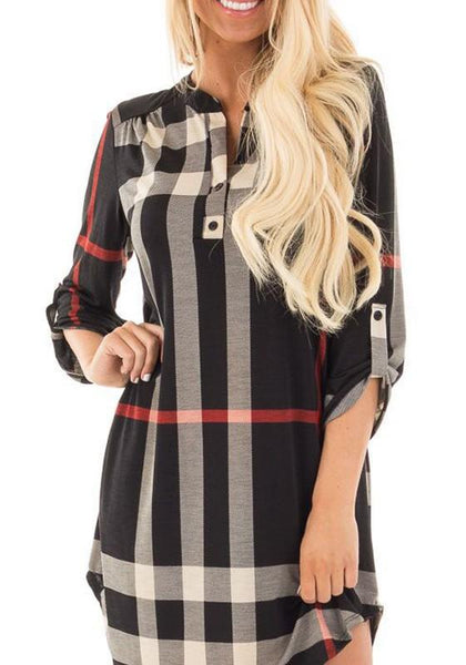 Casual Black Plaid Irregular Buttons 3/4 Sleeve Casual Mini Dress