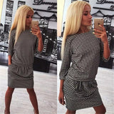 ByChicStyle Casual Black Plaid Pleated 3/4 Sleeve Fashion Mini Dress