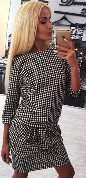 Casual Black Plaid Pleated 3/4 Sleeve Fashion Mini Dress