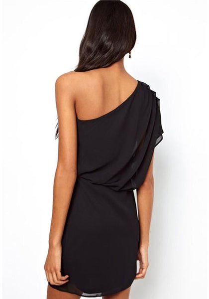 Casual Black Plain Asymmetric Shoulder Chiffon Dress