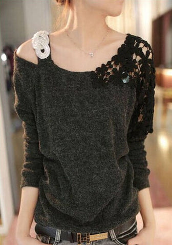 Black Plain Asymmetric Shoulder Hollow-out Lace Spliced Casual Fashion Pullover Sweater