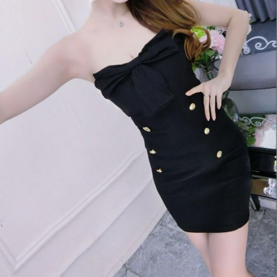 Casual Black Plain Bow Studded Bandeau Mini Dress