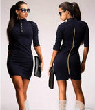 ByChicStyle Casual Black Plain Buttons Zipper Band Collar Elbow Sleeve Mini Dress