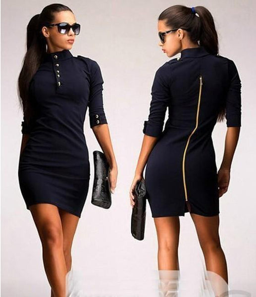 Casual Black Plain Buttons Zipper Band Collar Elbow Sleeve Mini Dress