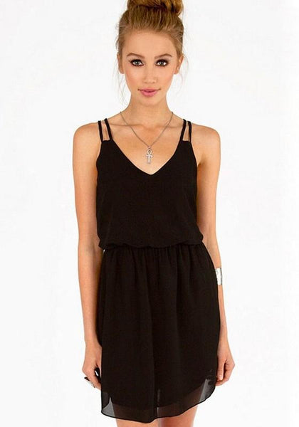 Casual Black Plain Condole Belt V-neck Sleeveless Chiffon Dress