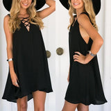 ByChicStyle Casual Black Plain Cut Out Draped Plunging Neckline Fashion Mini Dress