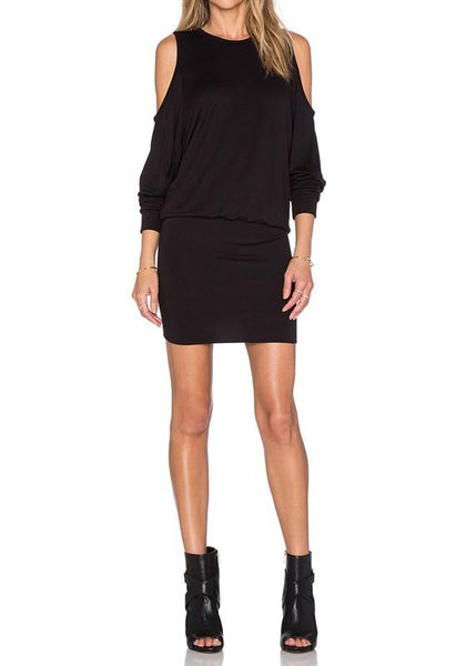 Casual Black Plain Cut Out Semicircular Fashion Cotton Mini Dress