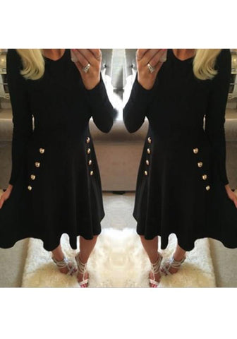 Black Plain Draped A-line Buttons Double Breasted Long Sleeve Elegant Cute Mini Dress