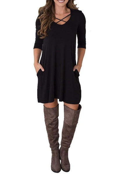Casual Black Plain Draped V-neck 3/4 Sleeve Mini Dress