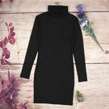 ByChicStyle Black Plain Grenadine Spaghetti Strap Two Piece High Neck Long Sleeve Bodycon Party Mini Dress