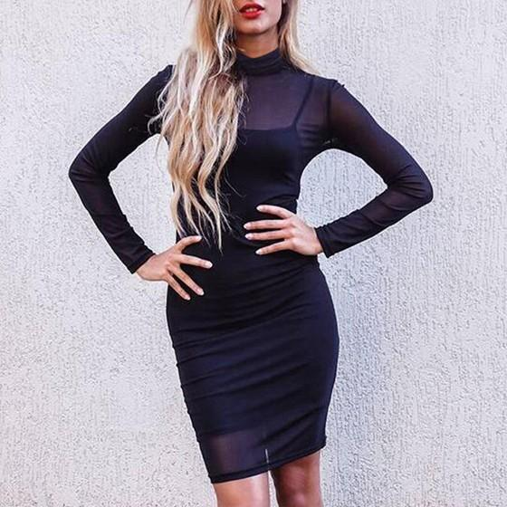 Black Plain Grenadine Spaghetti Strap Two Piece High Neck Long Sleeve Bodycon Party Mini Dress