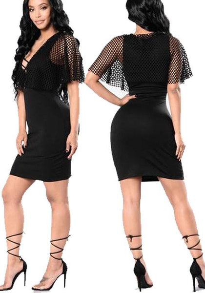 Casual Black Plain Cut Out Grenadine Cap Sleeve Lace-up Homecoming Bodycon Mini Dress