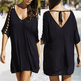 ByChicStyle Casual Black Plain Hollow-out V-neck Elbow Sleeve Mini Dress